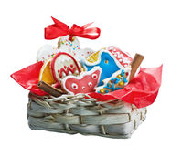 Christmas gingerbread cookies in a basket Royalty Free Stock Image