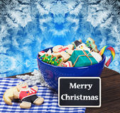 Christmas gingerbread cookies and a blackboard with congratulati Stock Image