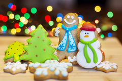 Christmas Gingerbread cookies on a bokeh background Royalty Free Stock Image