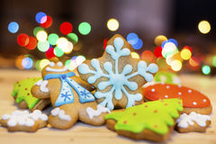 Christmas Gingerbread cookies on a bokeh background Stock Photography