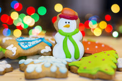 Christmas Gingerbread cookies on a bokeh background Royalty Free Stock Photo