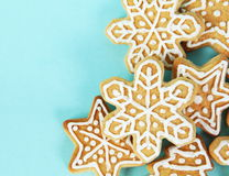 Christmas Gingerbread Cookies Border Stock Photos