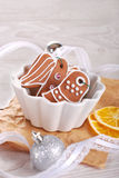 Christmas gingerbread cookies in a bowl Royalty Free Stock Images