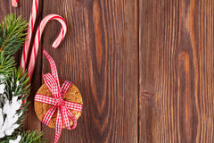 Christmas gingerbread cookies, candy cane and tree Royalty Free Stock Images
