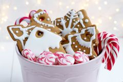 Christmas gingerbread cookies with candy canes. Christmas sweets. In bowl Stock Images