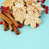 Christmas Gingerbread Cookies and Cinnamon Stock Images
