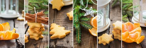 Christmas Gingerbread cookies with cinnamon collage Stock Photos
