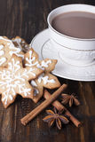 Christmas gingerbread cookies and cocoa Royalty Free Stock Images