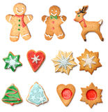 Christmas gingerbread cookies collection set Royalty Free Stock Image