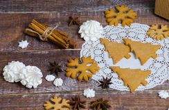 Christmas gingerbread cookies with different decoration Stock Photos