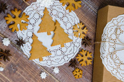 Christmas gingerbread cookies with different decoration Royalty Free Stock Photos