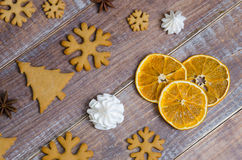 Christmas gingerbread cookies with different decoration Royalty Free Stock Photo