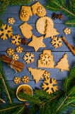 Christmas gingerbread cookies with different decoration Royalty Free Stock Image