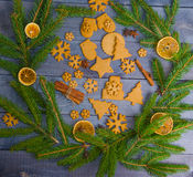 Christmas gingerbread cookies with different decoration Royalty Free Stock Photography