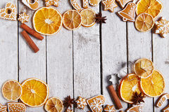 Christmas gingerbread cookies and dried orange Stock Images