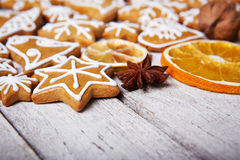 Christmas gingerbread cookies and dried orange Royalty Free Stock Photo