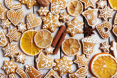 Christmas gingerbread cookies and dried orange Royalty Free Stock Photography
