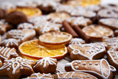 Christmas gingerbread cookies and dried orange Royalty Free Stock Photos