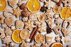 Christmas gingerbread cookies and dried orange Stock Image