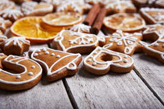 Christmas gingerbread cookies and dried orange Stock Photo