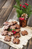 Christmas gingerbread cookies with festive decoration Royalty Free Stock Photography