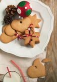 Christmas gingerbread cookies with festive decoration Royalty Free Stock Photos