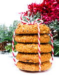 Christmas Gingerbread cookies with festive decoration and red ri Royalty Free Stock Image