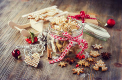 Christmas gingerbread cookies, festive rustic table decoration royalty free stock images