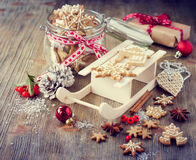 Christmas gingerbread cookies, festive rustic table decoration stock photo