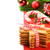 Christmas gingerbread cookies in festive setting Stock Images