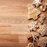 Christmas gingerbread cookies and fir tree on fabric background Stock Photo