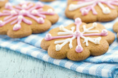 Christmas gingerbread cookies with frosting Stock Images