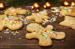 Christmas gingerbread cookies with funfetti and decorations. Selective focus Royalty Free Stock Photo