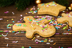Christmas gingerbread cookies with funfetti and decorations. Selective focus Royalty Free Stock Images