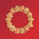 Christmas_gingerbread_cookies_garland Fotos de Stock Royalty Free