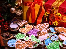 Christmas gingerbread cookies and gift box for family. Stock Images