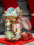 Christmas gingerbread cookies in glass jar Stock Photography