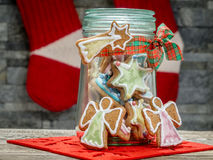 Christmas gingerbread cookies in glass jar Royalty Free Stock Photos