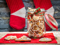Christmas gingerbread cookies in glass jar Royalty Free Stock Image