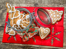 Christmas gingerbread cookies in glass jar Royalty Free Stock Photography