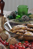 Christmas gingerbread cookies in a glass plate Royalty Free Stock Photo