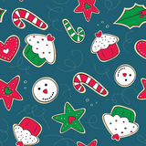 Christmas gingerbread cookies green and red seamle Royalty Free Stock Images