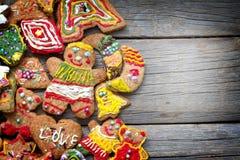 Christmas gingerbread cookies handmade on old planks Stock Photo