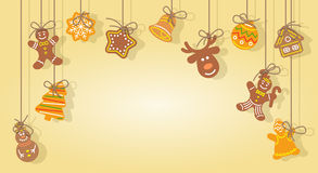 Christmas gingerbread cookies hanging on the ropes vector background Royalty Free Stock Photos