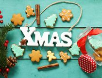 Christmas gingerbread cookies holiday gift Royalty Free Stock Photos