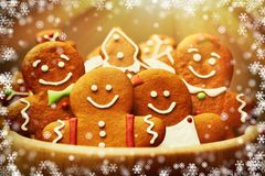 Christmas gingerbread cookies. Christmas homemade gingerbread cookies on table Stock Photography