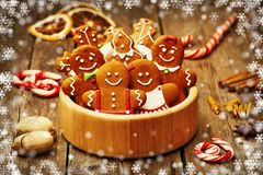 Christmas gingerbread cookies. Christmas homemade gingerbread cookies on table Royalty Free Stock Image