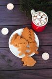 Christmas gingerbread cookies, hot chocolate Stock Photos