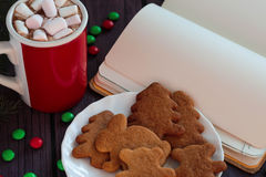 Christmas gingerbread cookies, hot chocolate Royalty Free Stock Photo