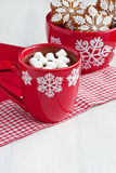 Christmas gingerbread cookies  with hot chocolate and marshmallows Royalty Free Stock Photography